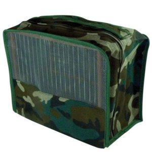 Funda camuflaje con tapa y rejilla, para jaulas C-2. Con cremallera cosida por dentro para evitar que saque los hilos