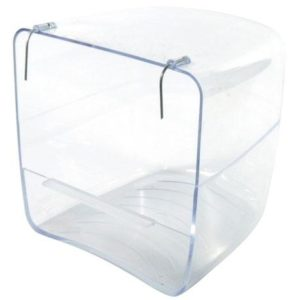 Bañera Sahara de plastico exterior con enganche de alambre medidas, transparente, apta para todo tipo de jaulas Tamaño: 13 cm x 13 cm x 13 cm